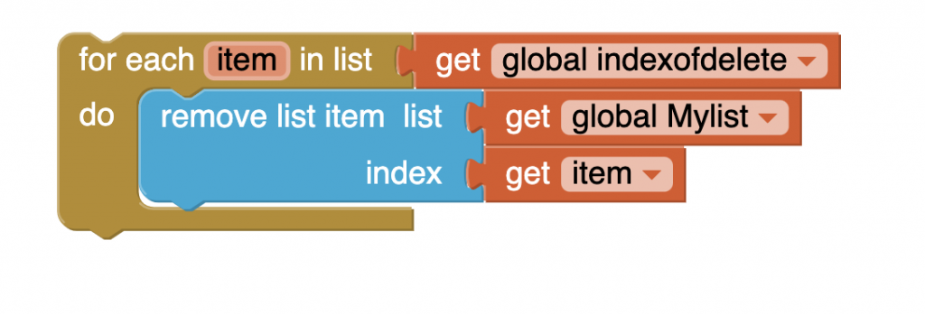 Remove multiple items of a list in MIT App Inventor 2